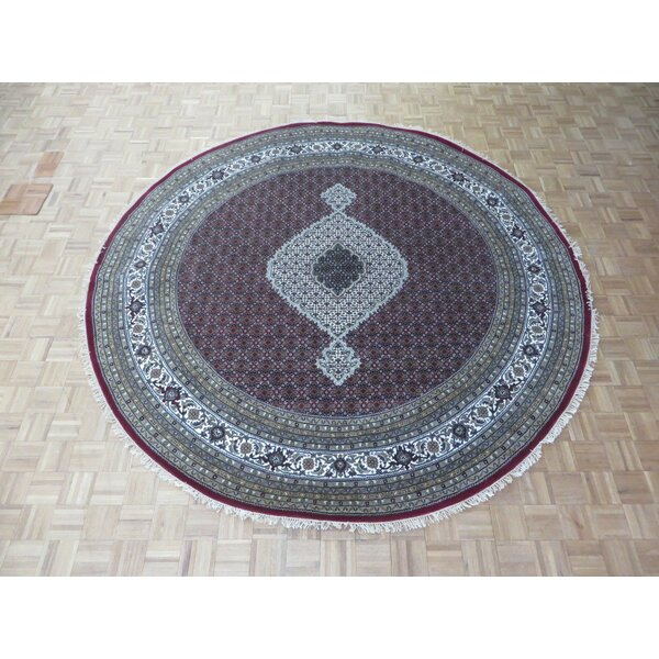 One-of-a-Kind Raiden Round Tabriz Hand-Knotted Purple/Gray Area Rug by Astoria Grand