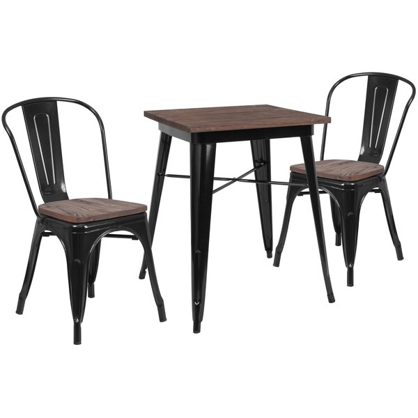 Pray 3 Piece Solid Wood Dining Set by Williston Forge