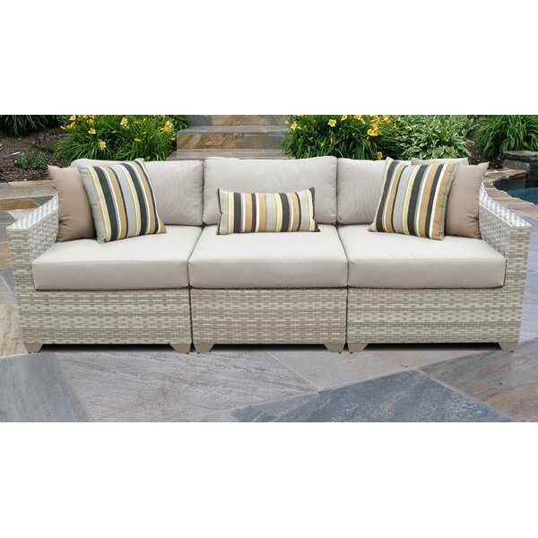 Genevieve Wicker Patio Sofa with Cushions by Rosecliff Heights