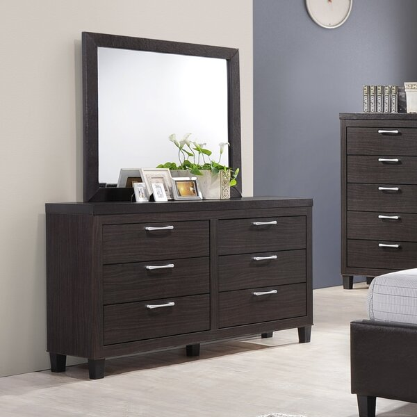 Synder 6 Drawer Double Dresser with Mirror by Ebern Designs