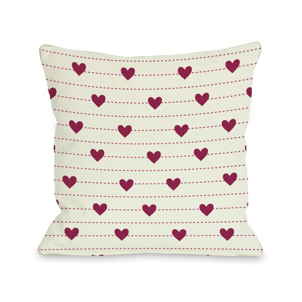Hearts on a Line Throw Pillow by One Bella Casa