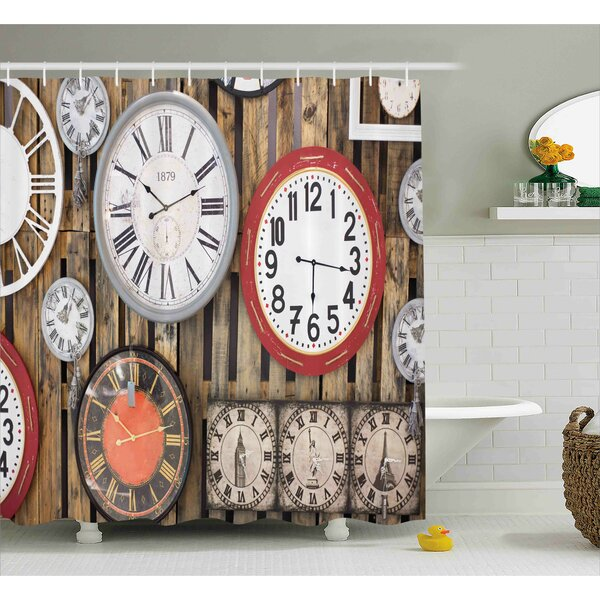 Hubbard Antique Clocks on The Wall Instruments of Time Vintage Decorative Pattern Shower Curtain by Winston Porter