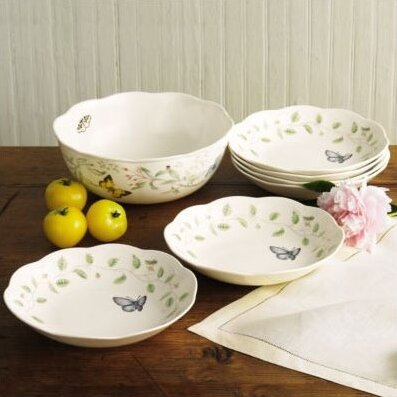 Butterfly Meadow 7 Piece Pasta / Salad Bowl Set by