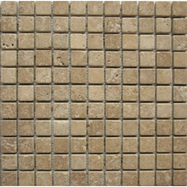 1 x 1 Travertine Mosaic Tile in Noche by Ephesus Stones