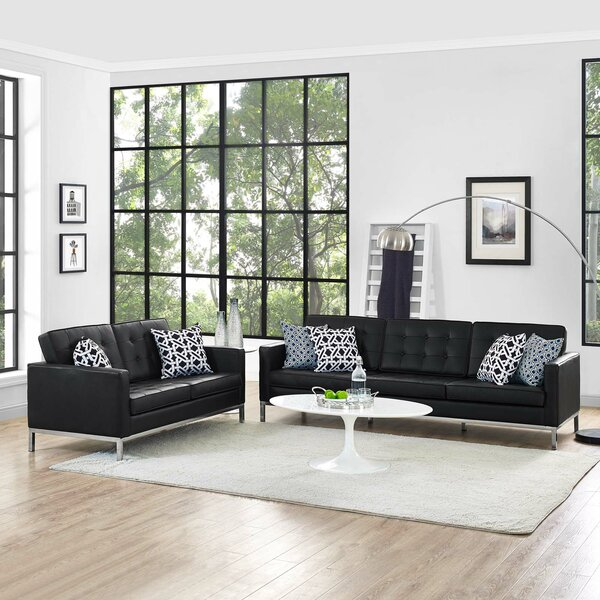 Gayatri 2 Piece Leather Living Room Set
