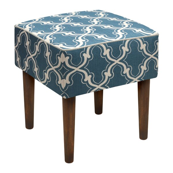 Trellis Linen Upholstered Modern Vanity Stool by 123 Creations