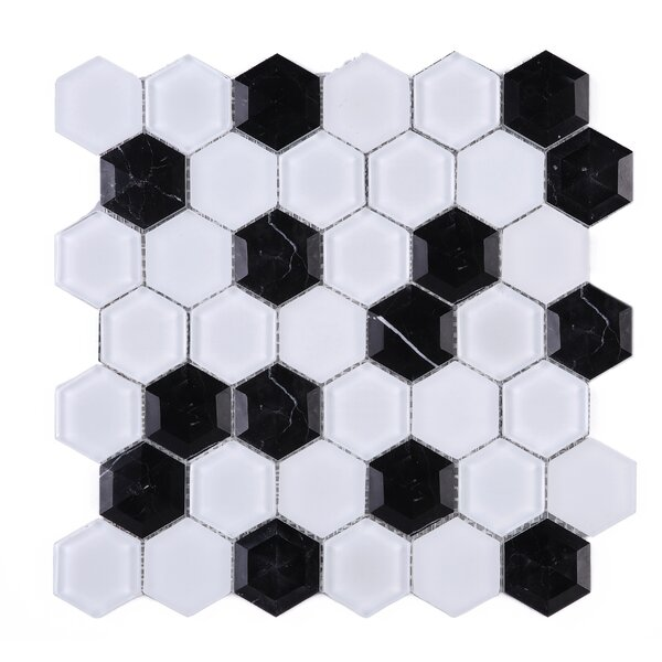 3D Hexagon 2 x 2 Marble Mosaic Tile in Black/White by Multile