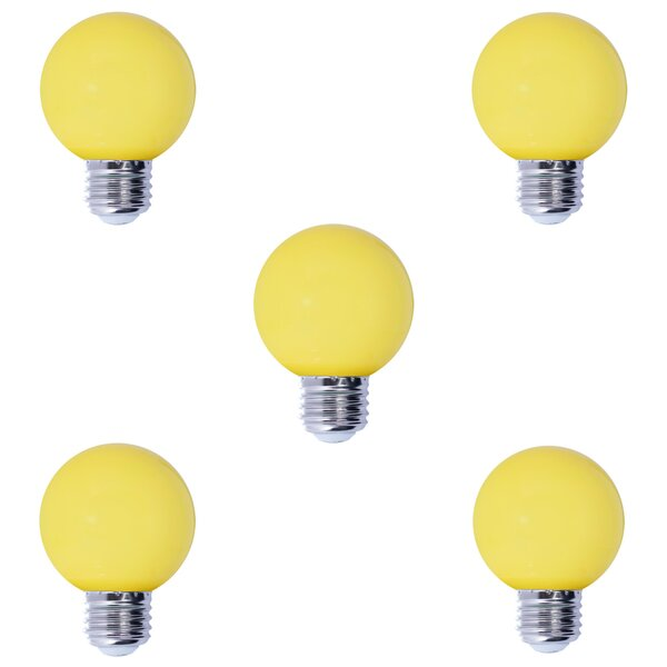 1W E26 LED Light Bulb Yellow (Set of 5) by Bulbrite Industries