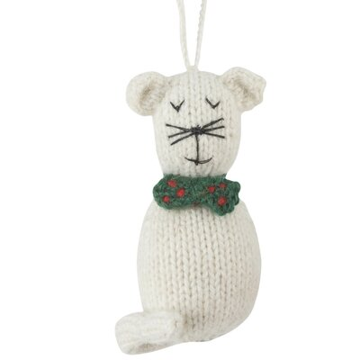 This kitty was curious to see how he\'d look in a green polka dot bowtie. As you can tell, he\'s quite pleased with the result. Hand knit of an alpaca fiber blend. Arcadia Home