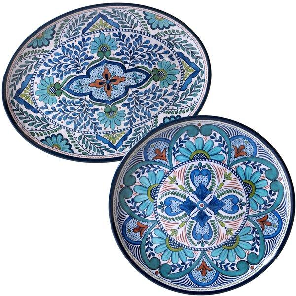 Bezu 2 Piece Heavy Weight Melamine Platter Set by World Menagerie