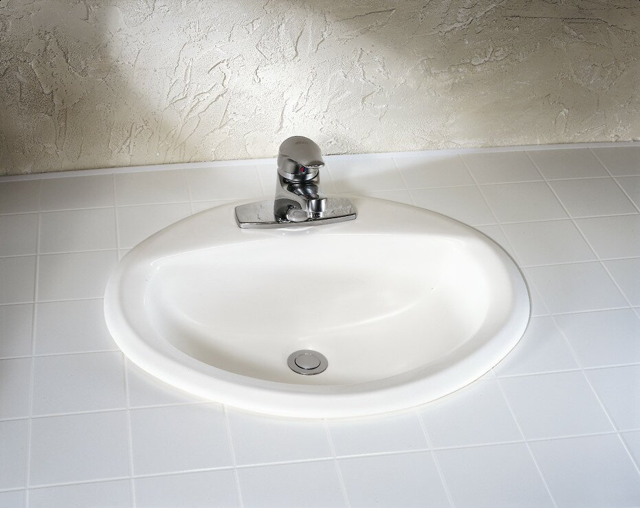 Aqualyn Ceramic Oval Drop In Bathroom Sink With Overflow