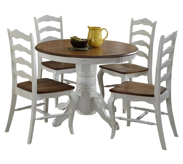 Wisser Oak and Rubbed White 5-Piece Dining Set by August Grove