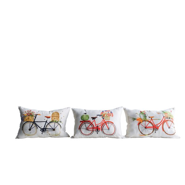 Massoni 3 Piece Bicycle and Gardening Cotton Lumbar Pillow Set by August Grove