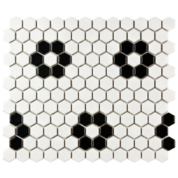 Retro 10 x 12 Porcelain Mosaic Tile in White/Black by EliteTile