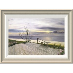'Sunset and Flowers' by Diane Romanello Framed Painting Print by Global Gallery