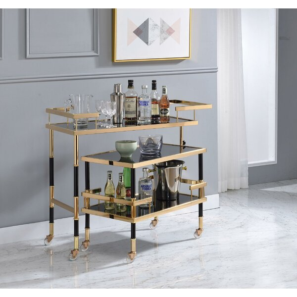 Cary Metal Framed Bar Cart by Everly Quinn
