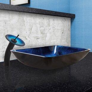 Turquoise Water Glass Rectangular Vessel Bathroom Sink with Faucet VIGO