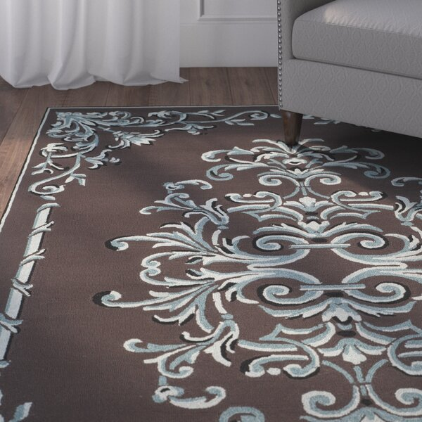 Sedgemoor Hand-Hooked Chocolate Area Rug by Charlton Home