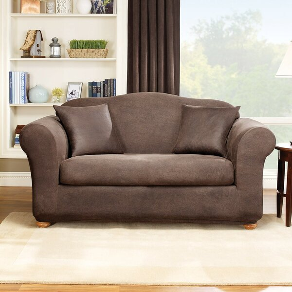 Stretch Leather Box Cushion Loveseat Slipcover by Sure Fit