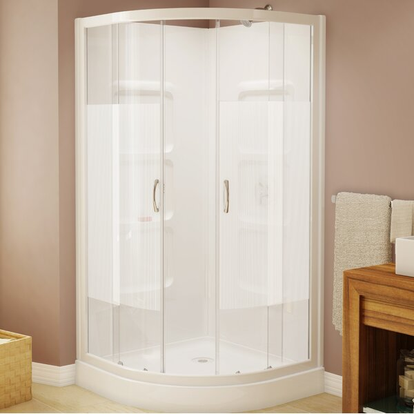Mona 37.5 x 74 Neo-Angle Sliding Shower Enclosure with Base Included by A&E Bath and Shower