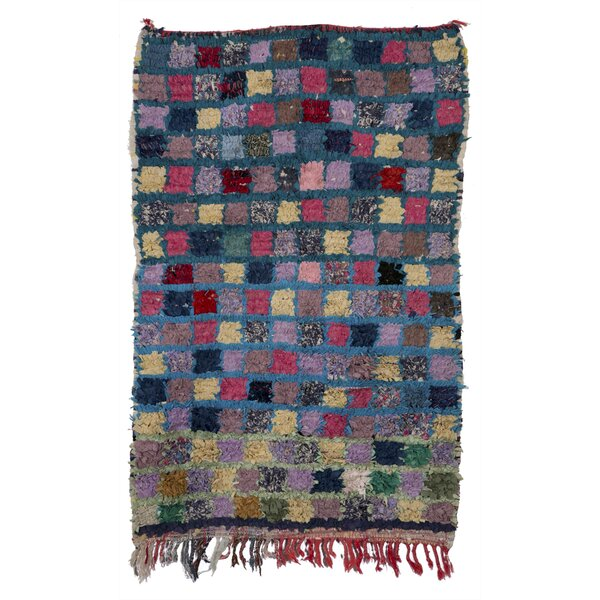 Boucherouite Azilal Hand-Woven Purple/Green Area Rug by Casablanca Market