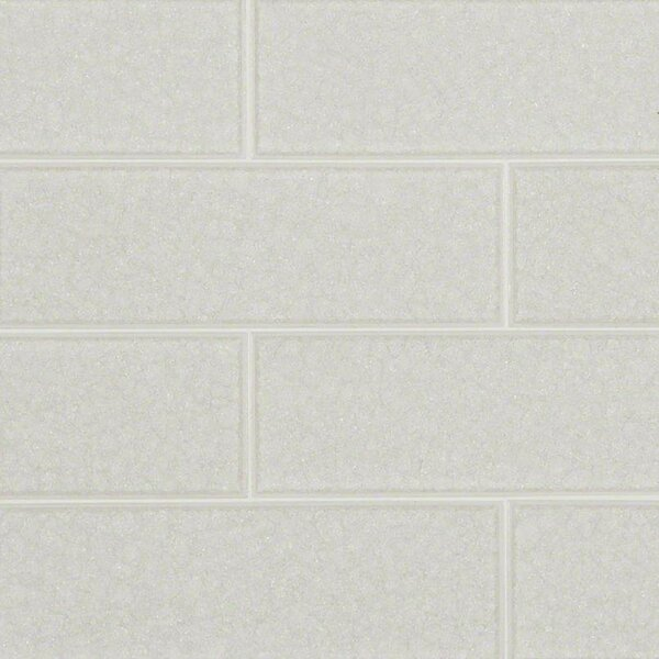 Frosted Icicle 3 x 9 Glass Subway Tile in White by MSI