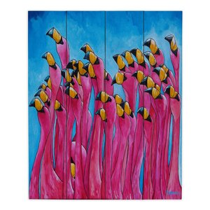 Peace Love and Flamingos by Patti Schermerhorn Painting Print Plaque by DiaNoche Designs