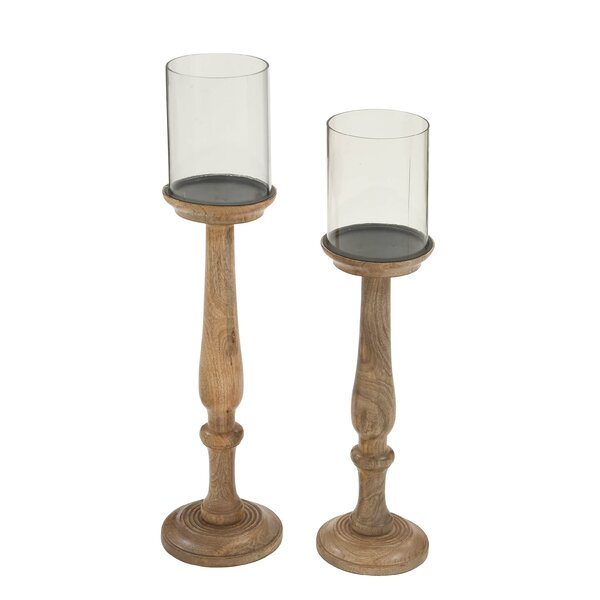 2 Piece Wood and Glass Hurricane Set by Cole & Grey