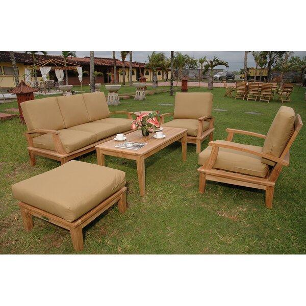 Bourgoin 5 Piece Teak Sofa Seating Group with Sunbrella Cushions