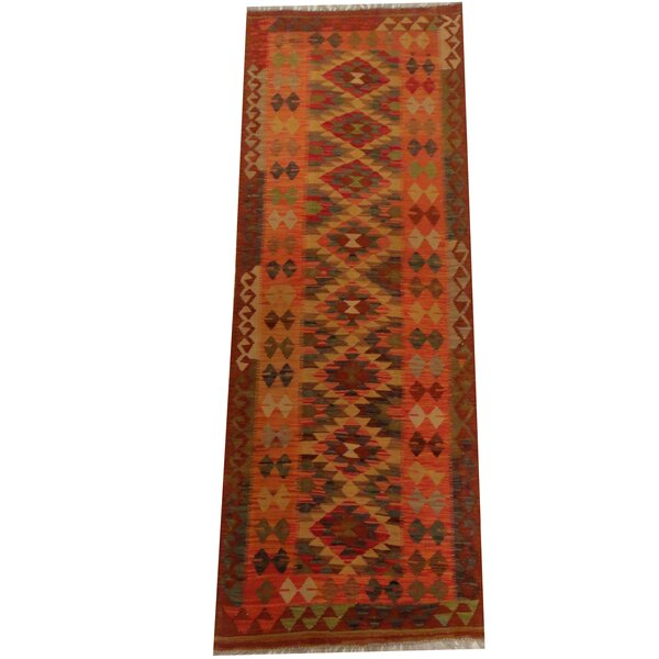 Kilim Hand-Woven Gold/Rust Area Rug by Herat Oriental