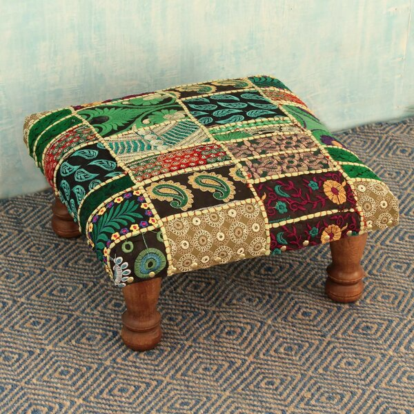 Salzburg Paisley Patch Embellished Ottoman by Bloomsbury Market