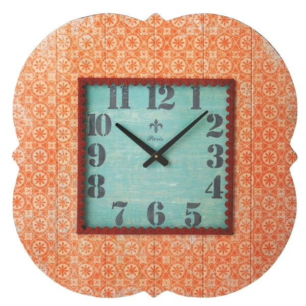 Bloom Orange Pattern Wall Clock by CBK