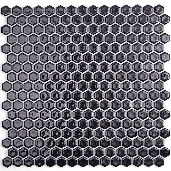 Bliss 0.6 x 0.6 Ceramic Mosaic Tile in Black by Splashback Tile