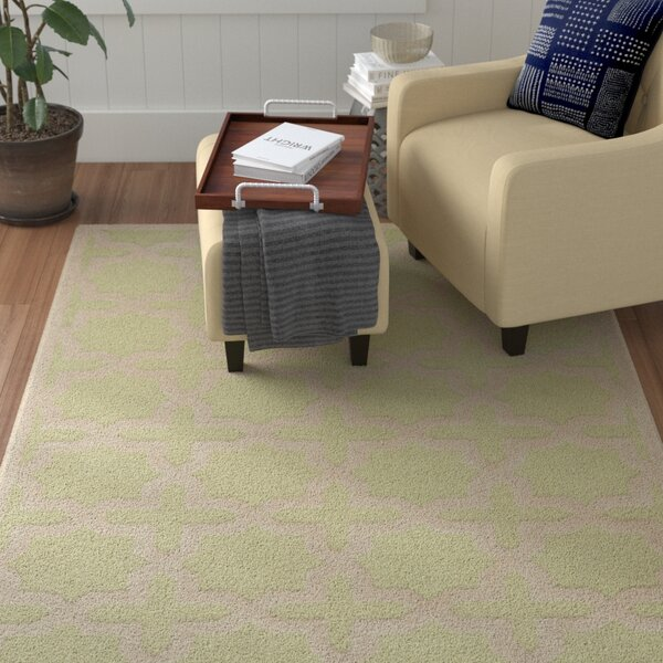 Darla Hand-Tufted Wool Light Green/Ivory Area Rug by Winston Porter