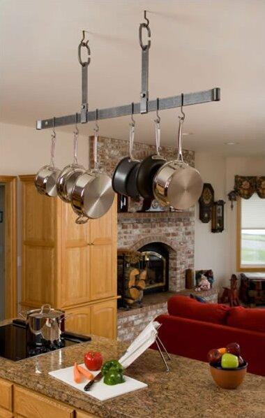 Usa Handcrafted Gourmet Ceiling Bar Pot Rack Adjule