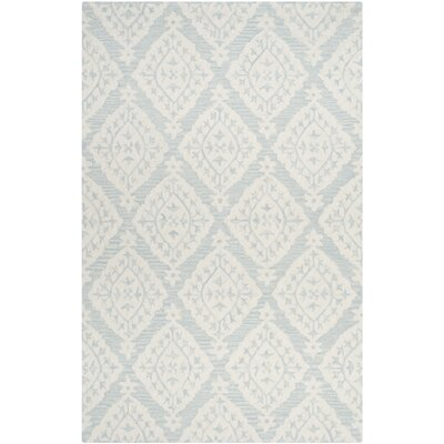 "Peltz Wool Light Hand-Tufted Wool Blue/Gray Area Rug Lark Manor Rug Size: Rectangle 2'6"" x 4'"