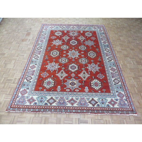 One-of-a-Kind Eliana Tribal Geometric Hand-Knotted Wool Red Area Rug by World Menagerie