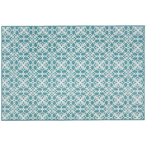 Hand Woven Aqua Blue/White Indoor/Outdoor Area Rug by Ruggable