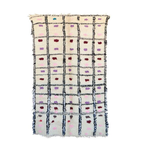 Azilal Vintage Moroccan Hand Knotted Wool Cream/Purple/Pink Area Rug by Indigo&Lavender