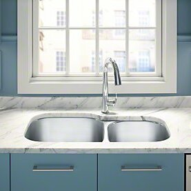 Undertone Preserve 35-1/8 L x 20-1/8 W x 9-5/8 Under-Mount Extra Large/Medium Double-Bowl Kitchen Sink by Kohler