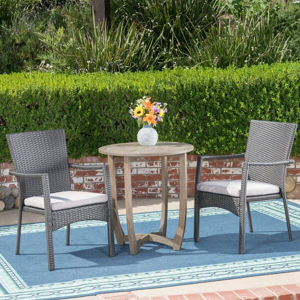 Beeler 3 Piece Bistro Set with Cushions by Ebern Designs