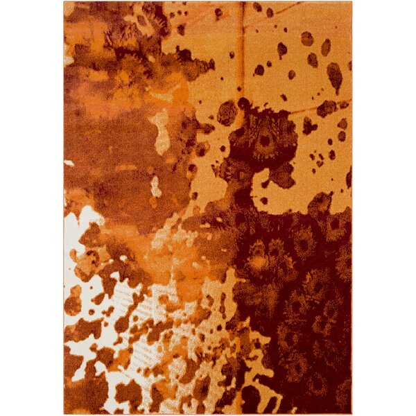 Azure Abstract Orange/Rust Area Rug by Ebern Designs