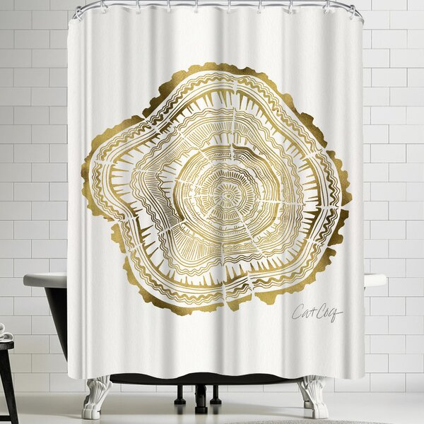 Gold Tree Rings Shower Curtain by East Urban Home