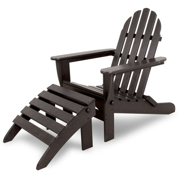Ivy Terrace Classics Plastic Folding Adirondack Chair with Ottoman by Ivy Terrace