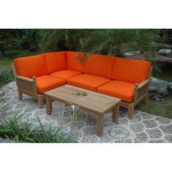 Luxe Modular 5 Piece Teak Sectional Seating Group by Anderson Teak