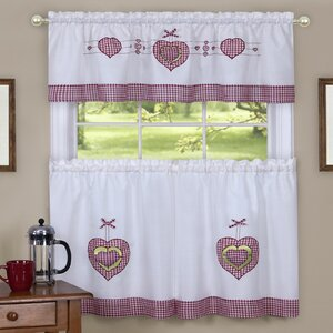 Cacia Gingham Hearts Embellished Tier and Valance Kitchen Curtain Set