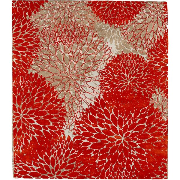 One-of-a-Kind Telma Hand-Knotted Red 10' Round Wool Area Rug