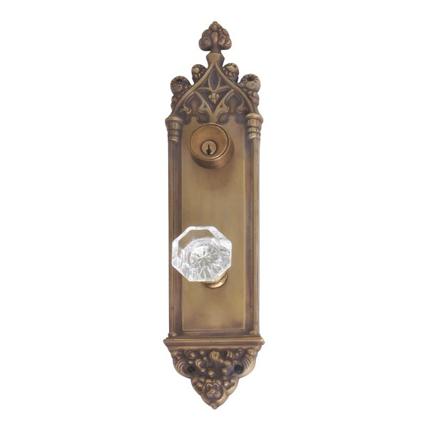 Renaissance Gothic Plate Single Cylinder Handleset with Knob by BRASS Accents