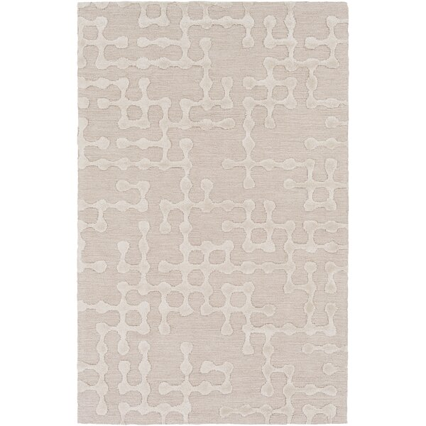 Serpentis Hand-Hooked Beige/Ivory Area Rug by Wrought Studio