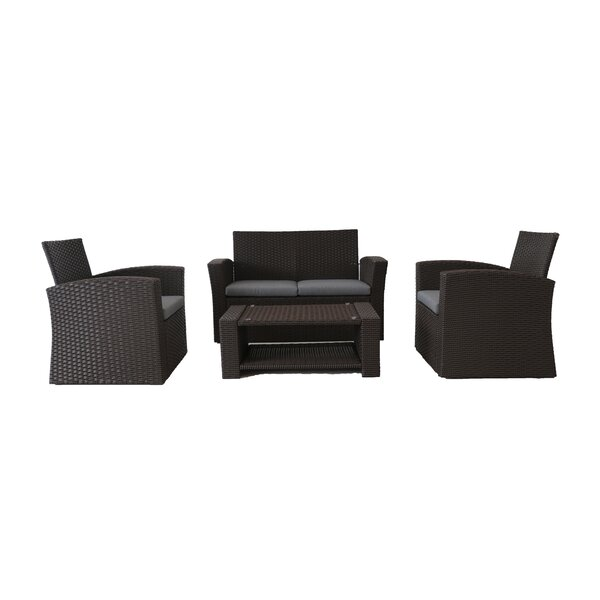 Tobias 4 Piece Rattan Deep Seating Group with Cushions by Bayou Breeze
